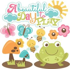 A Beautiful Day To Play SVG files for scrapbooking butterfly svg file frog svg file mushroom svg file
