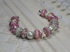 Pink Ribbon and White European Style Pandora by TreasuredSweets, $22.00