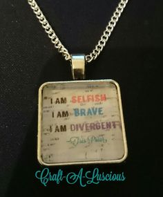 """<Divergent> 18"""" Chain Necklace (I am Selfish. I am Brave. I am Divergent {Tris Prior}).  #silver #jewellery #necklace #crafting #handmade Divergent Tris, Tris Prior, Selfish, Uk Shop, Dog Tag Necklace, Silver, Handmade, Crafts, Jewelry"""
