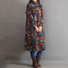 Cotton Print Long dress Loose Fitting long robe Large by MaLieb