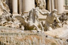 The sculptures of the Ocean and the two tritons, with the winged horses in the central part in Trevi Fountain, Rome, Italy Emperor Augustus, Winged Horse, Trevi Fountain, Secrets Revealed, Rome Italy, Bodies, Two By Two, Sculptures, Rome