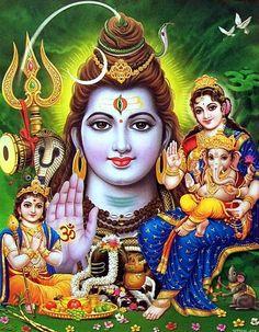 The consort of lord Shiva is goddess Parvathi. Lord Shiva has two children lord Muruga and lord Ganapathi. Lord muruga is born from the six fire balls of shiva's thrid eye. Lord parvathi created ganapathi from the sandal paste and gave him a life. Om Namah Shivaya, Bhagavad Gita, Shiva Photos, Krishna Pictures, Shiva Shankar, Shiva Parvati Images, Shiva Linga, Lord Shiva Hd Images, Lord Shiva Hd Wallpaper