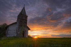 A long abandoned Lutheran church on the Alberta prairie.