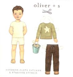 Sandbox is a pull-on pants and shirt pattern for boys.  Simple construction, and stencil pattern is included.  You can get one at ww.chadwickheirlooms.com
