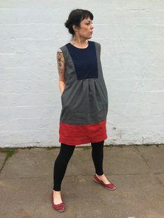 Linen Color-Block Smock Dress.