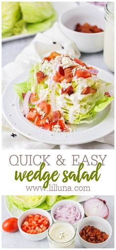 This fresh wedge salad is a classic. It's crisp and refreshing, smothered in creamy dressing and topped with crumbles of cheese and bacon. #wedgesalad #salad #bleucheese #bacon #creamydressing Wedge Salad Recipes, Summer Salad Recipes, Salad Bar, Side Salad, Mexican Chicken Salads, Main Dish Salads, Easy Delicious Recipes, Vegetable Salad, Family Meals