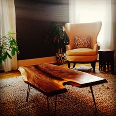 Live edge coffee table with hairpin legs by Good Wood Nashville #www.goodwoodnashville.com