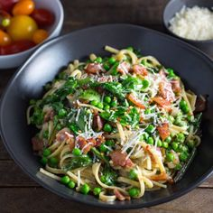 A versatile pasta dish that combines spring vegetables (ramps and peas) with crisp pancetta in a light, creamy sauce.