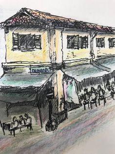 Old shophouse Singapore  Watercolor pencil