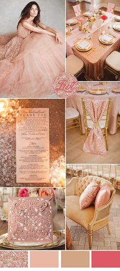 Wedding Trends: Seven stunning ideas for wedding colors in metallic tones Wedding Trends:Seven Stunning Wedding Color Ideas In Shades of Metallic rose gold and blush pink wedding ideas and laser cut wedding invitations Sabine Franz - Wedding Themes, Wedding Decorations, Wedding Ideas, Trendy Wedding, Wedding Dresses, Rose Gold Bridesmaid Dresses, Rose Gold Dresses, Rose Gold Party Decorations, Rose Gold Quinceanera Dresses