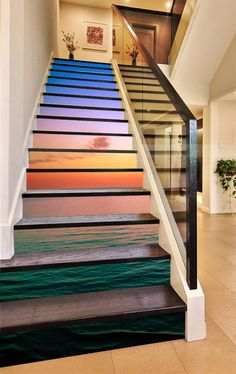 How to order: Stairways come in all different widths and number of stairs. We regularly produce the most common sizes, but can custom build a design for most stairways, at similar prices. All panels are tall, as the clear area on most risers are to and Stair Steps, Stair Risers, Stair Art, Stair Decor, Wall Decor, Decoration Photo, Marble Stairs, Photo Wall Stickers, Floor Wallpaper