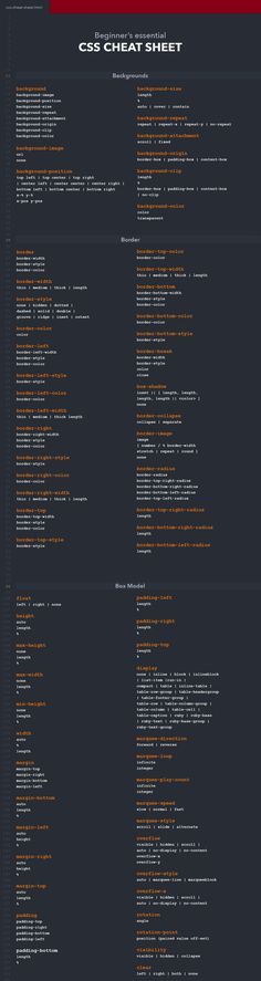 CSS cheat sheet containing backgrounds, borders, fonts, texts and many other categories. Whether you are a professional web developer or just starting out with CSS, this cheat sheet helps you to enhance your workflow.