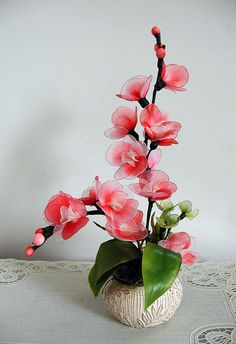 Handmade Colorful Nylon Orchids Arrangement