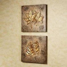 Birch and Sweet Gum Leaf Collage Wall Art Set - New Deko Sites Mural Wall Art, Wall Art Sets, Wall Collage, Framed Wall Art, Wall Art Decor, Aluminum Foil Art, Glue Art, Cheap Wall Art, Plaster Art
