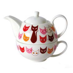 Cat Mask Tea For One Set Red by Kaoru Shibata