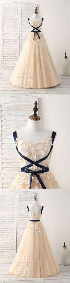 Unique champagne lace tulle long prom dress, champagne evening, champagne wedding dress, bridal dress #longpromdresses