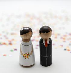 DECO MARIAGE : figurines de mariage en bois personnalisées - Bal de Famille