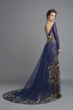 Spring Summer 2015 midnight blue tulle with fantasy embroidery dress