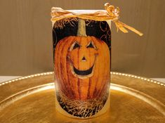 Halloween LED Pillar Candle With Cute Pumpkins by DontForgetTheFlowers on Etsy Fall Candles, Flameless Candles, Pillar Candles, Decorative Candles, Themes Photo, Thanksgiving Centerpieces, Cute Pumpkin, 4 Hours, Pumpkin Decorating
