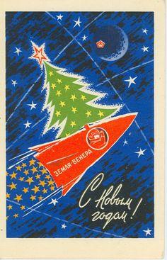 Little cosmonaut, Vintage Soviet postcard artist A. Antonchenko, Happy New Year, Merry Chris Picture Postcards, Old Postcards, Christmas Love, Vintage Christmas, Holiday Cards, Christmas Cards, Colani, Russian Winter, New Year Postcard