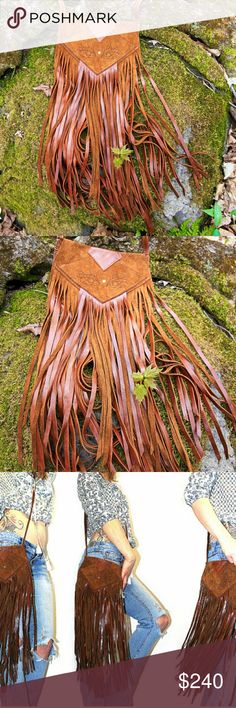 Leather Fringe Purse, Fairy Satchel, Boho Bag I Handmade this leather fringe purse and hand burned all the designs using a wood burner. 3 layers of handcut leather Fringe. Designs hand burned all over the bag. Front flap has a set of Fairy Eyes burned into the soft Suede. There is also a set of Fairy wings on the back side of the purse. Hidden under the front flap is the sacred geometry flower of life design.Made from strong durable soft 3.5 ounce cowhide. I also sell handmade leather and…
