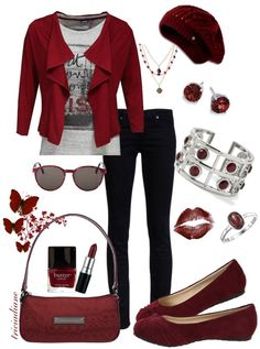 """Garnet Red & Burgundy"" by triciadiane ❤ liked on Polyvore"