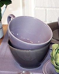 Set of 4 Provence Earthenware Oversized Cups-french,purple,cote table,dishes,coffee,tableware