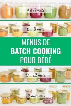 Batch cooking menus for babies - Weekly baby menus: in 1 batch cooking session, we cook all the small pots for the week (Monday to F - Baby Led Weaning, Baby Food Recipes 9 12, Baby Cooking, Cooking Kids, Get Baby, Baby Baby, Vegetable Puree, Homemade Baby Foods, Weekly Menu
