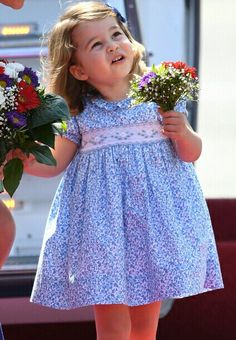 Princess Charlotte in a pretty blue dress with a smocked insert. Smocking Plates, Smocking Patterns, Dress Patterns, Smocked Baby Clothes, Smocked Dresses For Toddlers, Little Girl Dresses, Flower Girl Dresses, Heirloom Sewing, Smock Dress