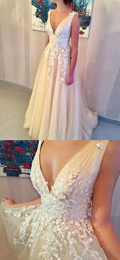 A-Line V-Neck Light Champagne Tulle Wedding Dress with Beading Appliques