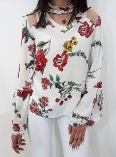 Bluzka ROSSE biała. Zwiewna bluzeczka z motywem kwiatowym. Floral Tops, Outfits, Clothes, Collection, Women, Style, Fashion, Swag, Moda