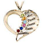 Engravable Contemporary Heart Mothers Pendant