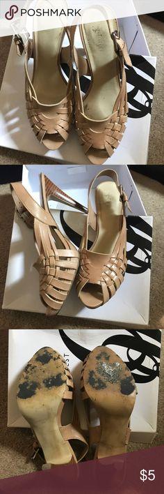 Nine West leather woven sandals Nine west leather woven sandals beautiful tan leather Nine West Shoes Sandals