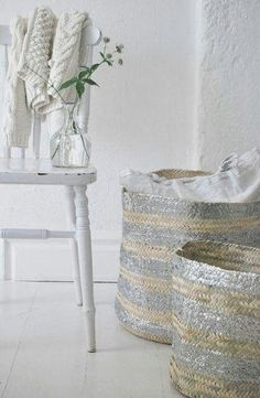 DIY paint my woven lampshades, but in gold instead of silver