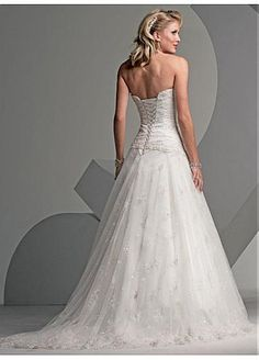 Beautiful Elegant Lace Ball Gown Strapless Wedding Dress In Great Handwork #Dressilyme