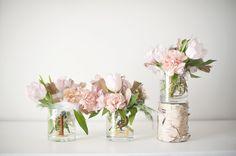 Centerpieces in glass beakers