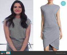 Jane's grey sleeveless wrap dress on The Bold Type. Outfit Details: https://wornontv.net/74992/ #TheBoldType