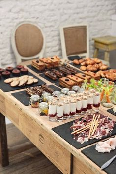 Wedding food stations display entertaining New ideas Coffee Break, Catering Display, Appetizer Table Display, Catering Ideas, Catering Services, Buffets, Food Stations, Breakfast Buffet, Breakfast Catering