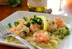 Famous Red Lobster Shrimp Scampi.I dunno about famous, but this is easy and will do well in a pinch.