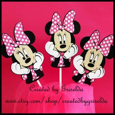 Minnie Mouse Birthday Centerpiece Cake Topper by  http://www.etsy.com/ca/shop/CreatedforMe  Birthday Banner, Minnie Mouse, hot pink, black, photo prop, cake smash, photography banner, 21st birthday, 1st birthday, high chair banner, zebra, paper, die cut,  birthday, graduation, 21st, 40th, 50th, polka dot, etsy, handmade, minnie, disney, cake, center piece, centerpiece, cupcake, cup cake, decoration,