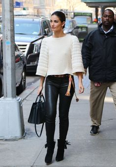 Lily Aldridge -- Soften the look of leather trousers with a fabric belt for a bohemian spin on the wardrobe staple.
