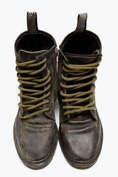 GOLDEN GOOSE Black Leather Lace-Up College Boots