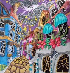 Adult Coloring, Coloring Books, Colouring, Derwent Inktense, Pencil Shading, Magic City, Disney Fairies, Magical Christmas, Color Inspiration