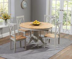 Buy the Epsom Oak and Grey 120cm Round Pedestal Dining Set  at Oak Furniture Superstore