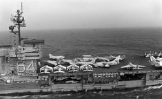 Kitty Hawk class USS Constellation (CV-64) with aircraft of CVW-9 embarked July 1980