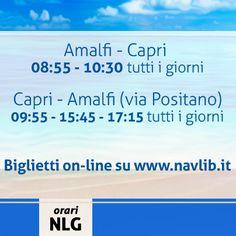 Siete pronti a partire per un week-end a Capri? Da Amalfi i nostri orari  per raggiungere l'isola! Per ulteriori informazioni su orari, tratte ed acquisto biglietti on line vi invitiamo a visitare il nostro sito http://www.navlib.it/ita/index.asp