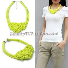 """Charity Shea's Neon Yellow Rope Bib Necklace on VH1's """"Single Ladies"""""""