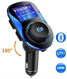 Kit mains libres de voiture /Écran de 3,7 cm Carte TF Lecteur MP3-Noir Adaptateur et r/écepteur audio Moko sans fil pour voiture,Transmetteur FM Bluetooth Avec port /à charge rapide 3.0