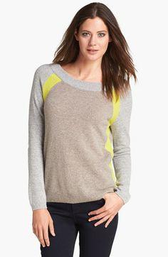 White + Warren Colorblock Cashmere Sweater