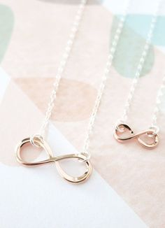 Mother & Daughter Infinity Necklace Set Rose Gold